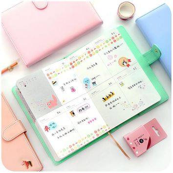 2017 Schedule Hand Book Folios Candy Colors PU Cover Planner Memo Pad Traveler Notebook A5 Organizer Padfolio Grils Gift