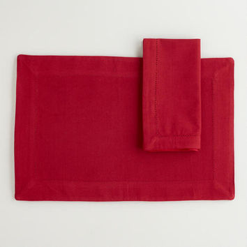 Color Block Hemstitch Placemats, Set of 4