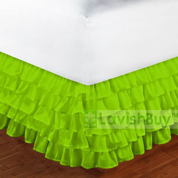 1000TC Egyptian Cotton Parrot Green Multi Layered Ruffle Bed Skirt - Size Choice