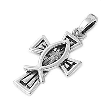 "Sterling Silver Fishers of Men Cross Pendant 24MM (Free 18"" Chain)"