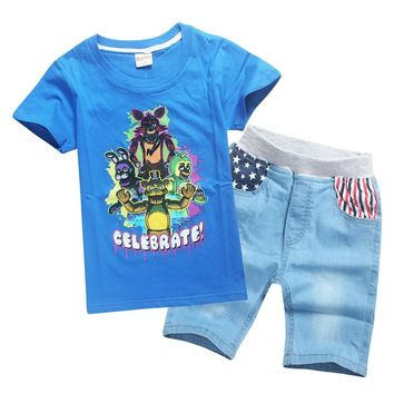 Summer Cotton baby girl clothes Set  A Freddy T-shirt Tops Shorts Kids Games Clothing Teen Sportswear Midnight Bear