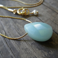 Tiny Teal Amazonite Blue Teardrop Necklace, 14K Gold Filled Necklace, Minimalist Pendant, Beautiful Delicate, Feminine Gift For Her