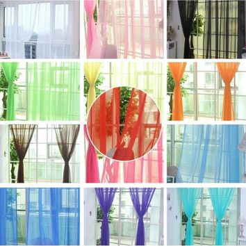 100*200cm Pure Color Tulle Sheer Voile Door Window Curtains Drapes Panel Sheer Scarf Valances Home Decor