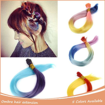 10pcs/Lot I-tip Rainbow Hair Straight Hair Extension Colorful Loop Grizzly Hairpiece Quality Feather Hair Cosplay Costumes