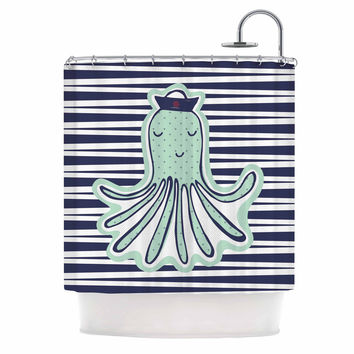 "MaJoBV ""Pulpo"" Green Octopus Shower Curtain"