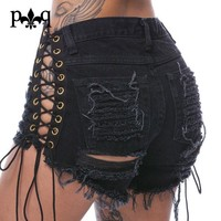 Sexy Short Jeans Women Lace Up Jean Shorts Bandage Rivets Hole Tassel Cotton Denim Shorts High Waist Ripped Jeans For Women