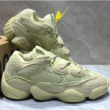 Adidas YEEZY BOOST ZX500 Fashionable Women Men Personality Sport Shoes Sneakers Yellow I/A