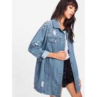 Sure Thing Pearl Beaded Detail Ripped Denim Jacket - Blue