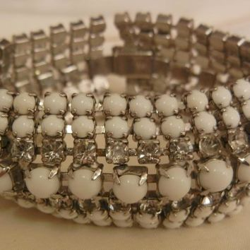 Beautiful Bold Seven row Milk glass Rhinestone Vintage Bracelet