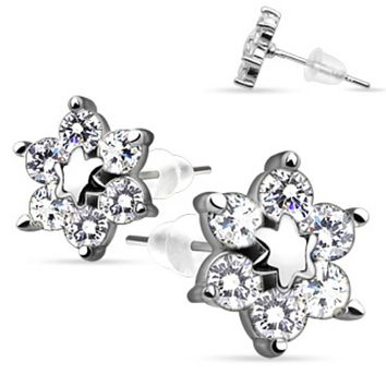 Pair of .925 Sterling Silver Center Star Flower w/ CZ Shard Petals Stud Ear WildKlass Rings (Sold as a Pair)