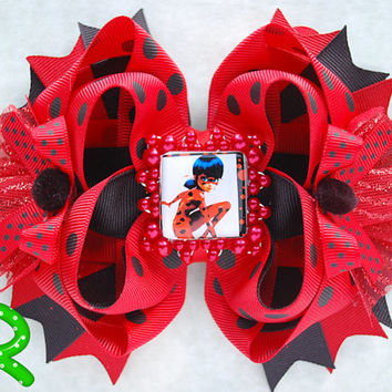 Lady bug bow , miraculous lady bug , Lady Bug Miraculous hair bow