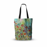 "Rosie Brown ""Klimt Inspired"" Multicolor Floral Nature Painting Everything Tote Bag"