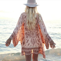 Summer Stylish 2 Colors Pattern Beach Chiffon Blouse