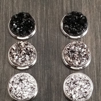 Druzy earring set- Little black dress drusy stud set - druzy earrings