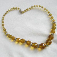 Vintage Single Strand Amber Leaded Glass Crystal Beaded Necklace with Rhinestone Rondells