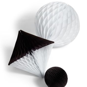 BASH Party Goods Set of 3 Assorted Black & White Honeycomb Paper Decorations | Nordstrom