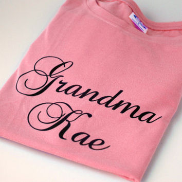 Personalized Shirt Custom Tee, Gift for Grandmother, Baby Shower for Girl, Gift for New Grandmother, Grandma T-Shirt Light Coral Pink