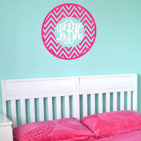 Chevron Monogram Personalized Wall Art Decal