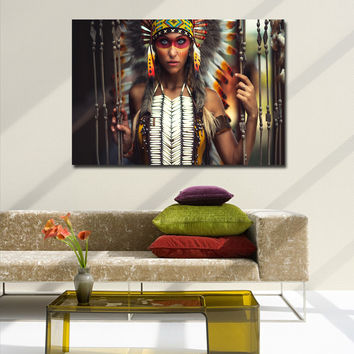 Native American Girl wall art pictures home decor print on canvas oil paintings for living room