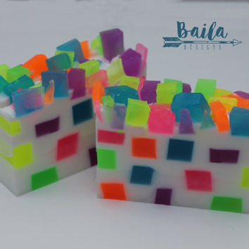 mosaic soap, neon soap, sugar soap, candy soap, unique soap, novelty soap, party favors, glycerin soap,handmade soap,rainbow soap,strawberry