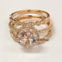 Round Morganite Engagement Ring Trio Sets Pave Diamond Wedding 14K Rose Gold 8mm