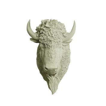 The Yellowstone | Large Buffalo Bison Head | Faux Taxidermy | Sage Green Resin