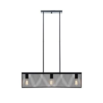 Globe® 65019 Three Light Linear Pendant with Metal Mesh Shade, Black