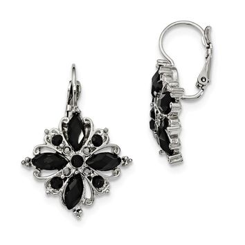 Silver-tone Black Crystal Flower Leverback Earrings