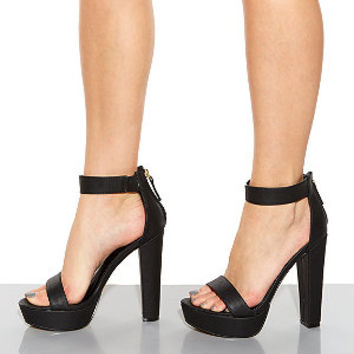 Black Ankle Strap Open Toe Heels