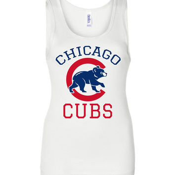 Chicago cubs World series Bella Wide Strap Tank Shirt