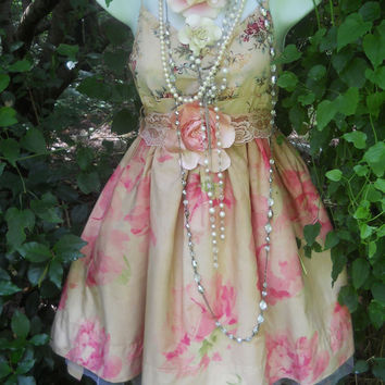 Baby doll dress pink  floral crinoline cupcake prom fairytale rose  vintage   romantic small by vintage opulence on Etsy