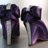SAMPLE SALE Wedding Shoes  Purple Wedges by DesignYourPedestal