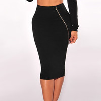 Stretchable Fastening High Waist Black Pencil Skirt for Women