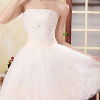 2016 Mini Homecoming Dress Fashion White Beaded Diamond Lace Stitching Chiffon Tube Tutu Dress