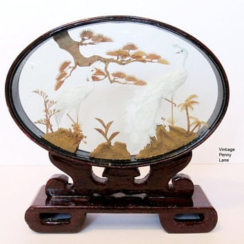 Large Vintage Cork Bamboo Art Sculpture / Oval Lacquer Wood Glass Shadow Box, White Peacocks