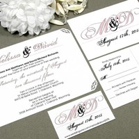 Calligraphy Lace | Modern Wedding Invitation Suite by RunkPock Designs | Corner Punched Lace Edges and Engraved Script Calligraphy Font Design | shown in pale blush pink and black