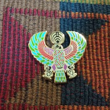 EDM Bass Music Festival Rave DJ Blue Green Egyptian Falcon Eagle Lapel Hat Pin