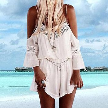 Women Straps Halter Crochet Playsuit Summer Beach Jumpsuits Romper Tops