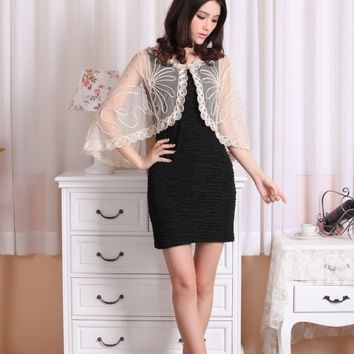 Women Knitted Lace Cardigan Autumn Casual Female Sleeve Loose Embroidery Ribbon Short Wrap Cape