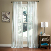Lush Decor C21170P14-000 Polka Dot Sheer Aqua Window Curtain, Set of Two