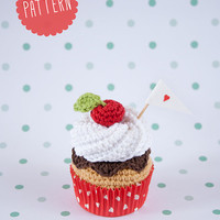 Cupcake crochet PATTERN. Whipped cream, chocolate and cherry, cupcake. PDF instant download