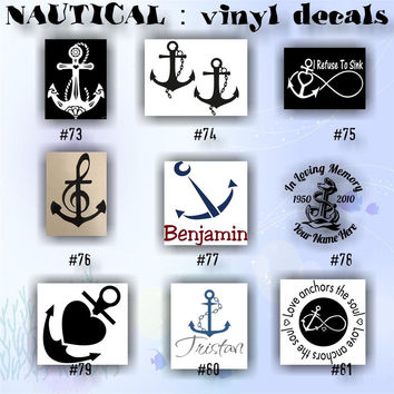 NAUTICAL vinyl decal - 73-81 - ANCHORS vinyl decals - sanddollar sticker - shark sticker - car window decal - vinyl sticker