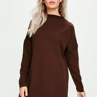 Missguided - Brown Scuba Sweater Dress