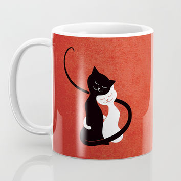 White And Black Cats In Love (red) Coffee Mug by borianagiormova