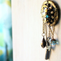 Prometheus -The journey of knowledge the secret key -Steampunk inspired - Altered art  pendant - Long chain necklace