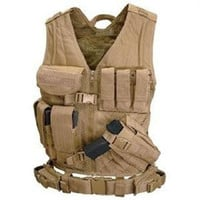 Cross Draw Tactical Vest - Color: Tan - XLarge - XXLarge