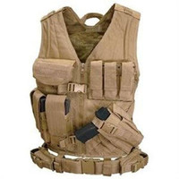 Cross Draw Tactical Vest - Color: Tan - Medium - Large