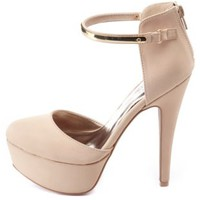 Gold-Plated Platform D'Orsay Heels by Charlotte Russe - Nude