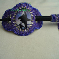 Native American Style Rosette Beaded Orca Whale Hair Stick Barrette in Purple and Silver