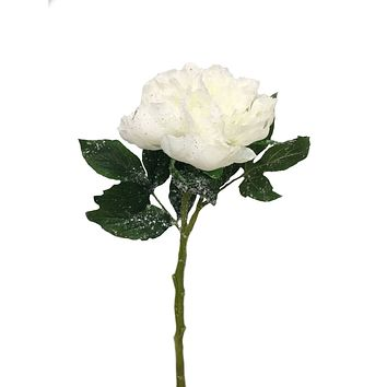 """14"""" Tall, 5"""" Bloom Peony Stem - Artificial Snowed Sparkle Peony - Perfect for winter bouquet, corsage, home decor"""